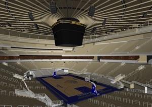 NBA室内篮球场待观众台模型