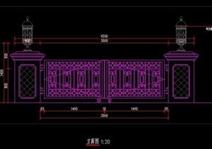 歐式風格別墅庭院入口鐵藝大門燈柱施工圖詳圖