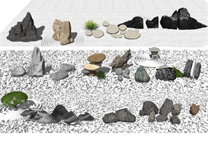 新中式石頭 假山景觀小品SU(草圖大師)模型