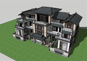 古典中式详细的住宅别墅设计SU(草图大师)模型