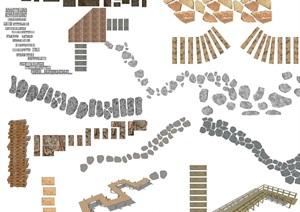 新中式石頭小路汀步小徑SU(草圖大師)模型