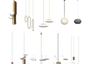 现代吊灯组合灯具SU(草图大师)模型