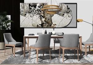 北欧餐桌椅组合吊灯装饰画SU(草图大师)模型