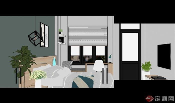 現代風格住宅室內臥室空間設計su模型