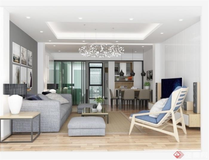 现代风格住宅室内空间装饰设计su模型