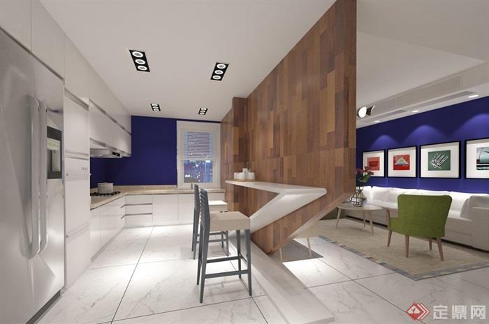 现代风格住宅室内客餐厅空间设计su模型