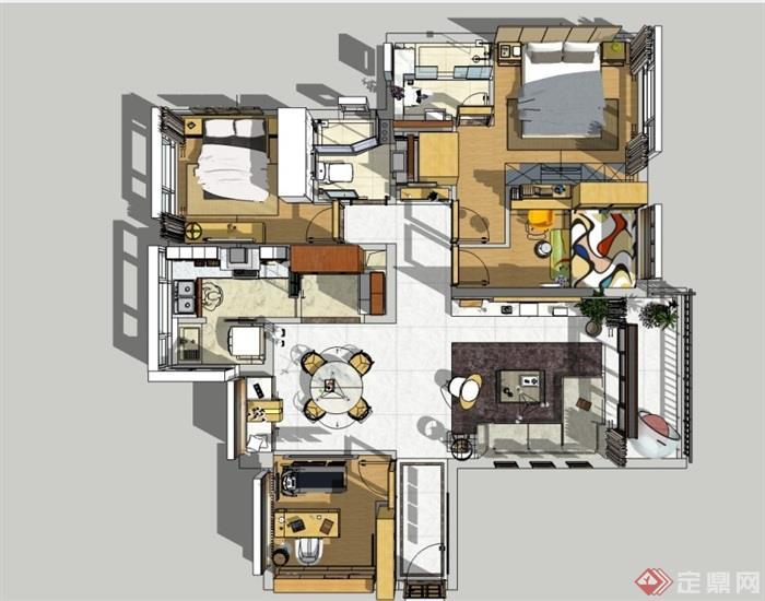 現代風格住宅室內完整空間設計su模型
