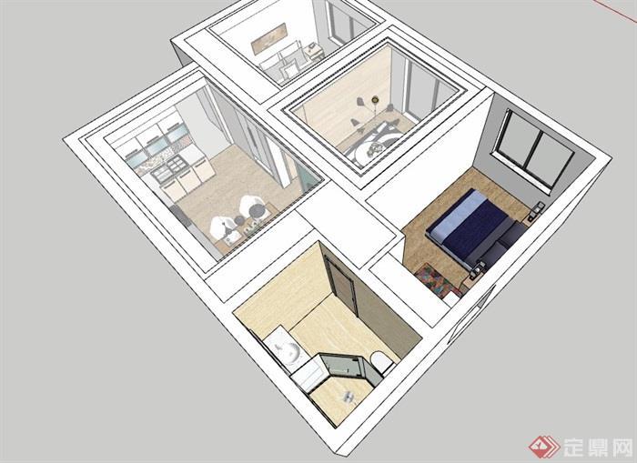 完整的現代風格住宅室內空間設計su模型