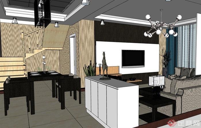 现代风格住宅客厅室内空间设计su模型