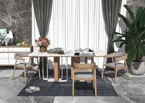北欧餐桌椅组合SU(草图大师)模型