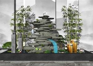 新中式假山流水景觀小品SU(草圖大師)模型