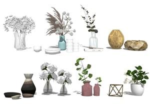 现代装饰品 花瓶枯枝 盆栽SU(草图大师)模型
