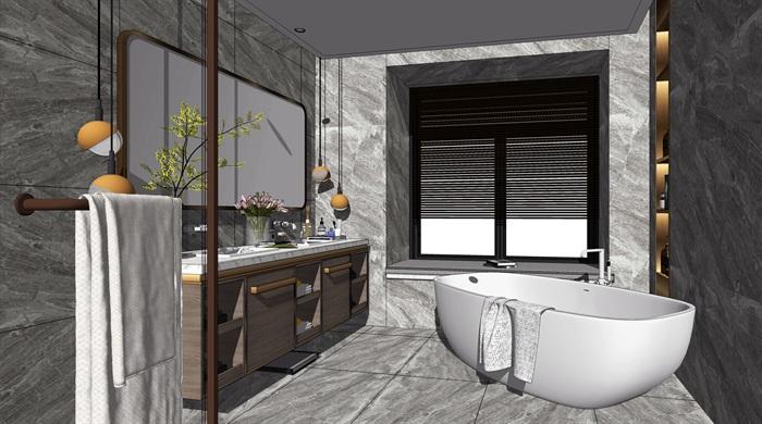 现代轻奢卫生间洗手台镜子花洒浴缸SU模型(2)
