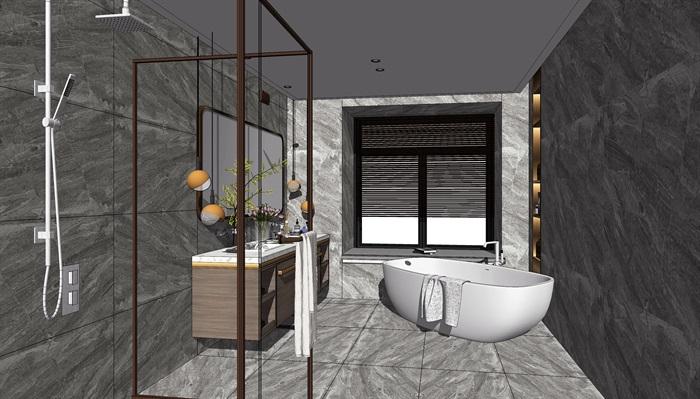 现代轻奢卫生间洗手台镜子花洒浴缸SU模型(3)