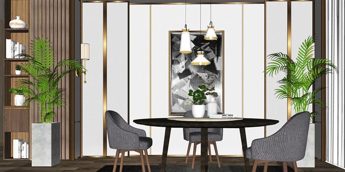 现代餐桌椅组合背景墙盆栽摆件餐桌椅子SU模型(2)