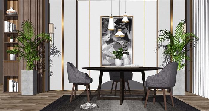 现代餐桌椅组合背景墙盆栽摆件餐桌椅子SU模型(3)