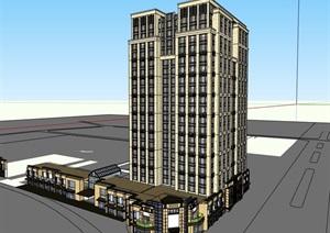 精致详细的商业高层小区住宅楼SU(草图大师)模型