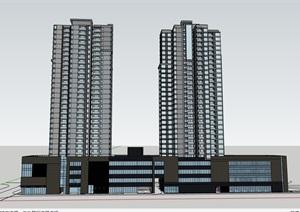 现代整体高层小区住宅楼设计SU(草图大师)模型