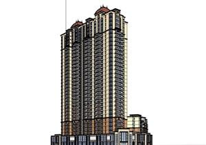 欧式风格高层小区商业住宅楼SU(草图大师)模型