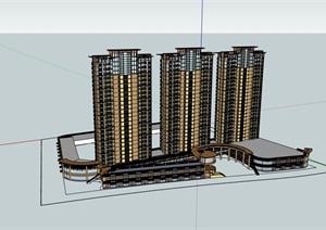 现代风格商业高层小区住宅楼SU(草图大师)模型