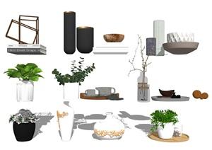 現代裝飾品 擺件 盆栽SU(草圖大師)模型