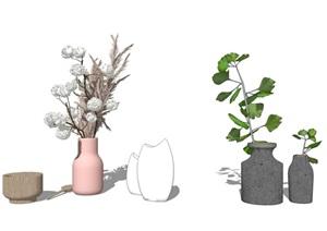 現代裝飾品 擺件 盆栽SU(草圖大師)模型1