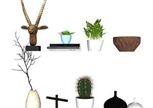 現代裝飾品 擺件 盆栽SU(草圖大師)模型3