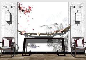 新中式 端景背景墻 案臺SU(草圖大師)模型