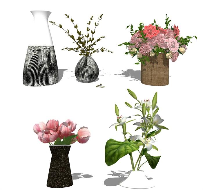 现代装饰品 花瓶 盆栽su模型(1)