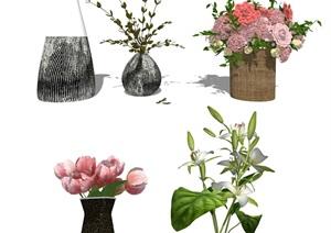 现代装饰品 花瓶 盆栽SU(草图大师)模型