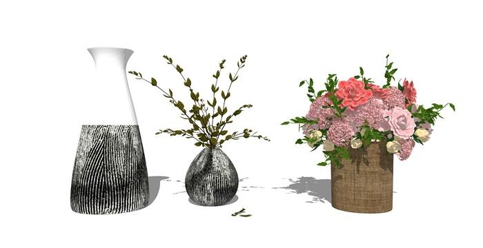 现代装饰品 花瓶 盆栽su模型(2)