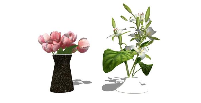 现代装饰品 花瓶 盆栽su模型(3)