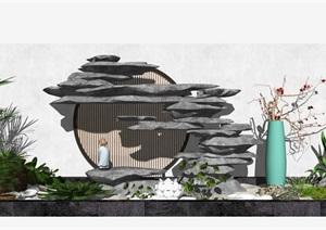 新中式假山叠石 景观小品 庭院景观 枯枝SU(草图大师)模型