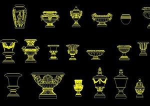 24種歐式風格花缽花盆燈柱雕塑小品CAD立面圖