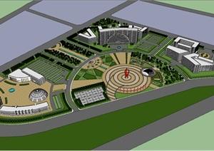 城市广场设计SU(草图大师)模型