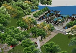 某滨河景观设计SU(草图大师)模型,非常精细