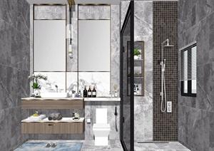 現代衛生間洗手臺鏡子花灑馬桶SU(草圖大師)模型