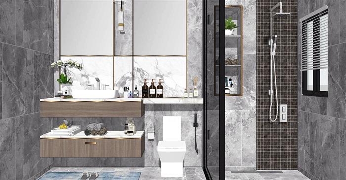 现代卫生间洗手台镜子花洒马桶SU模型(2)