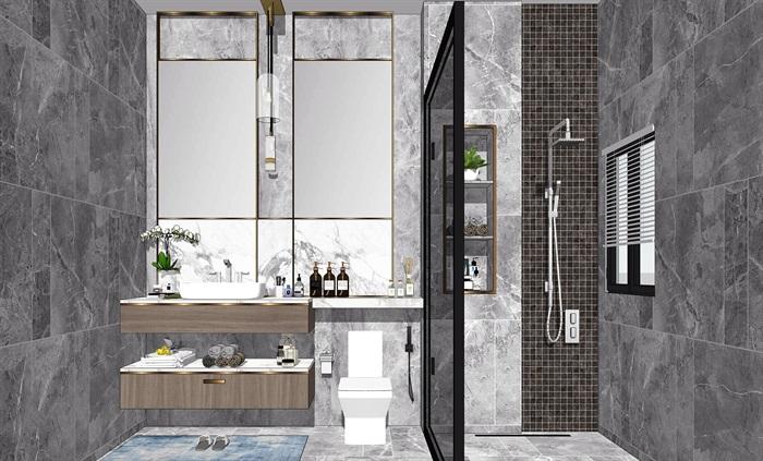 现代卫生间洗手台镜子花洒马桶SU模型(3)