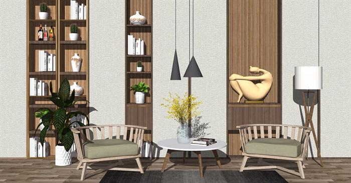 现代休闲椅单人沙发组合吊灯背景墙餐桌椅子盆栽SU模型(1)