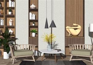 现代休闲椅单人沙发组合吊灯背景墙餐桌椅子盆栽SU(草图大师)模型
