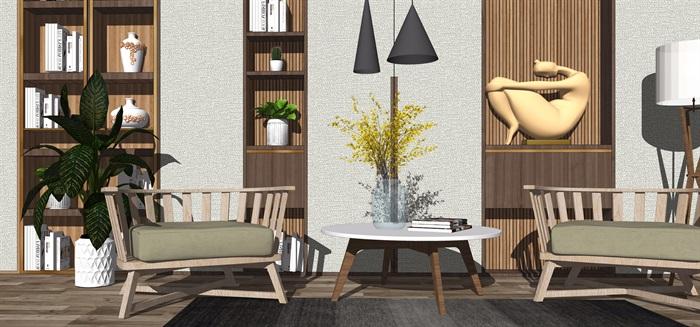 现代休闲椅单人沙发组合吊灯背景墙餐桌椅子盆栽SU模型(2)