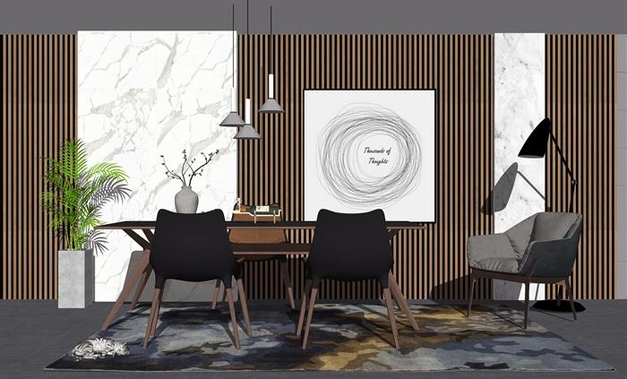 新中式餐桌椅组合背景墙餐桌椅子摆件SU模型(1)