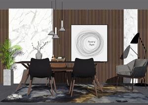 新中式餐桌椅组合背景墙餐桌椅子摆件SU(草图大师)模型