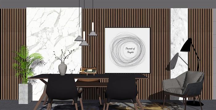 新中式餐桌椅组合背景墙餐桌椅子摆件SU模型(2)