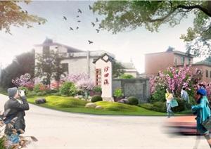 入口设计村落牌坊设计,SU(草图大师),PSD文件