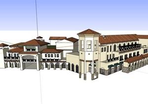 西班牙风格商业住宅建筑SU(草图大师)模型