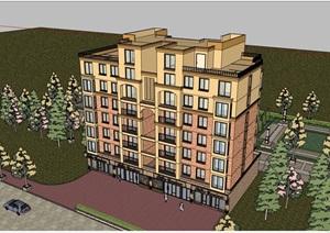 现代多层商业住宅小区建筑SU(草图大师)模型