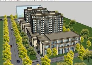 现代商业住宅小区建筑SU(草图大师)模型