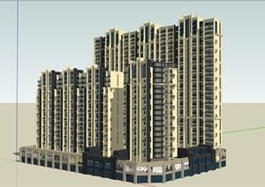 完整的独特商业住宅SU(草图大师)模型